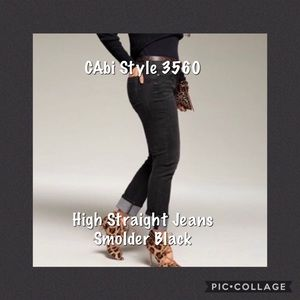 CAbi High Straight Jeans, Black Style 3560 Size 12